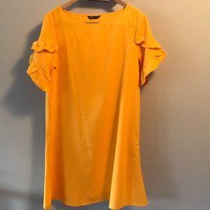 Bright orange-yellow ruffle short sleeve dress